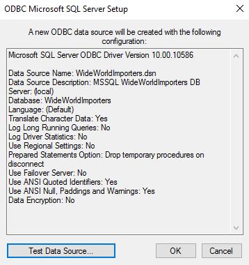 Screenshot of ODBC data source summary