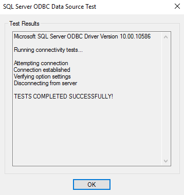 Screenshot of test results