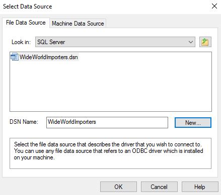 Screenshot of Select Data Source dialog box