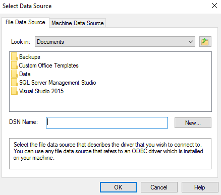Screenshot of the Select Data Source prompt