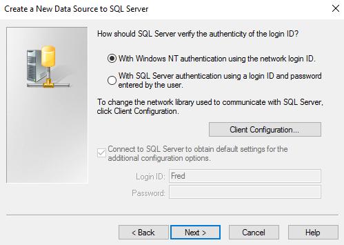 Screenshot of choosing an authentication method