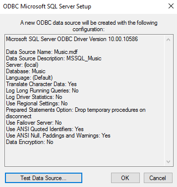 Screenshot of ODBC data source summary
