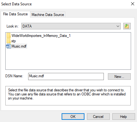 Screenshot of Select Data Source dialog box