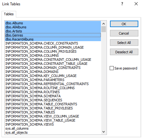 Screenshot of selecting tables and views