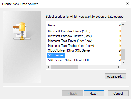 Screenshot of creating a new data source
