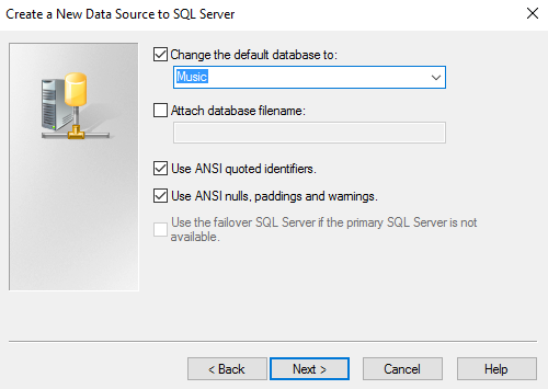 Screenshot of setting the default database