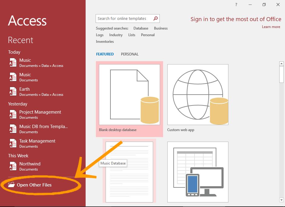Screenshot of the Microsoft Access 2016 Welcome Screen