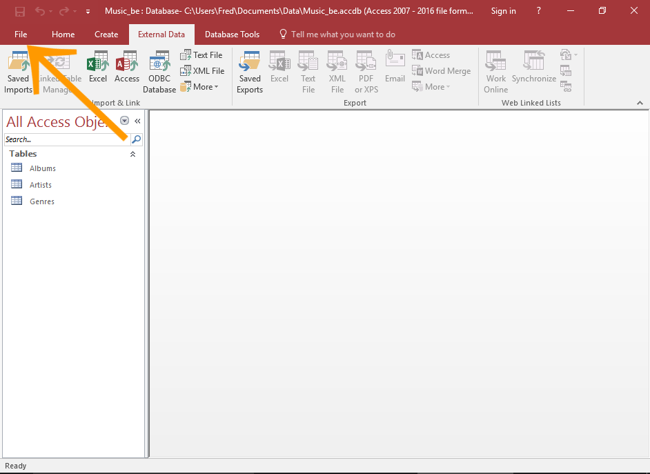 Screenshot of opening the File menu