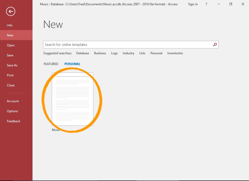 Screenshot of the template