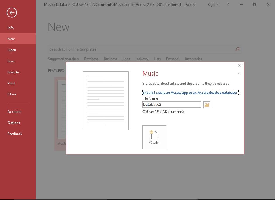 Screenshot of naming the database