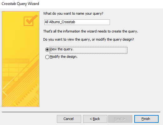 Screenshot of the Crosstab Query Wizard.