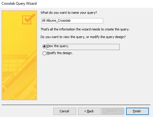 Screenshot of the Crosstab Query Wizard.