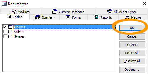 Screenshot of customizing the report.