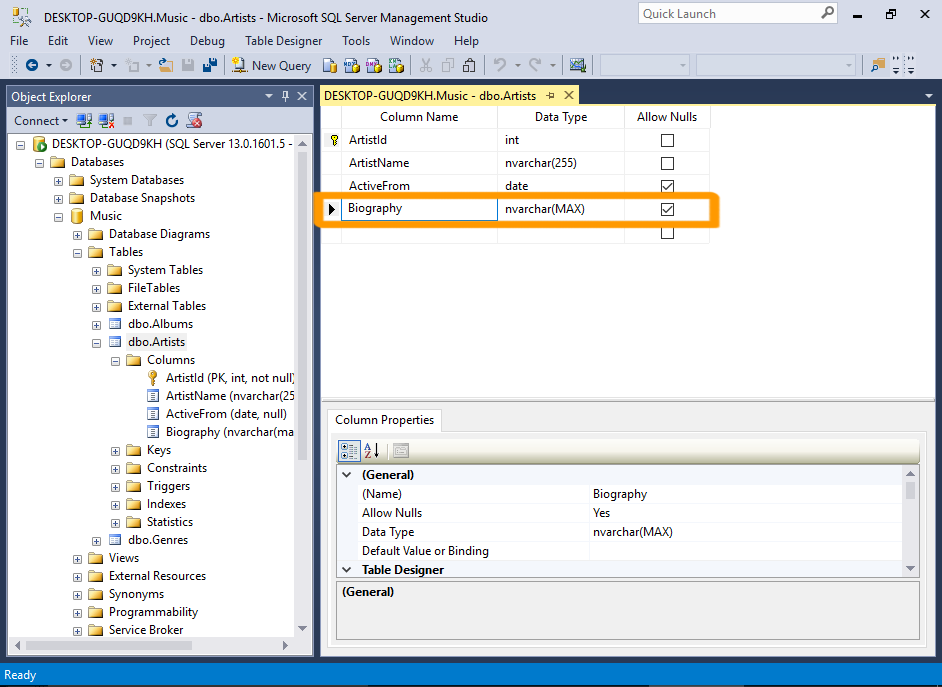 Screenshot of SQL Server with the new column