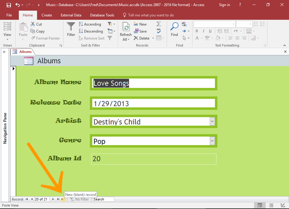 Screenshot of the Form.
