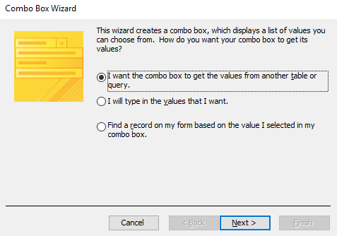 Screenshot of the Combo Box Wizard.