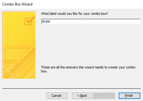 Screenshot of the Combo Box Wizard.