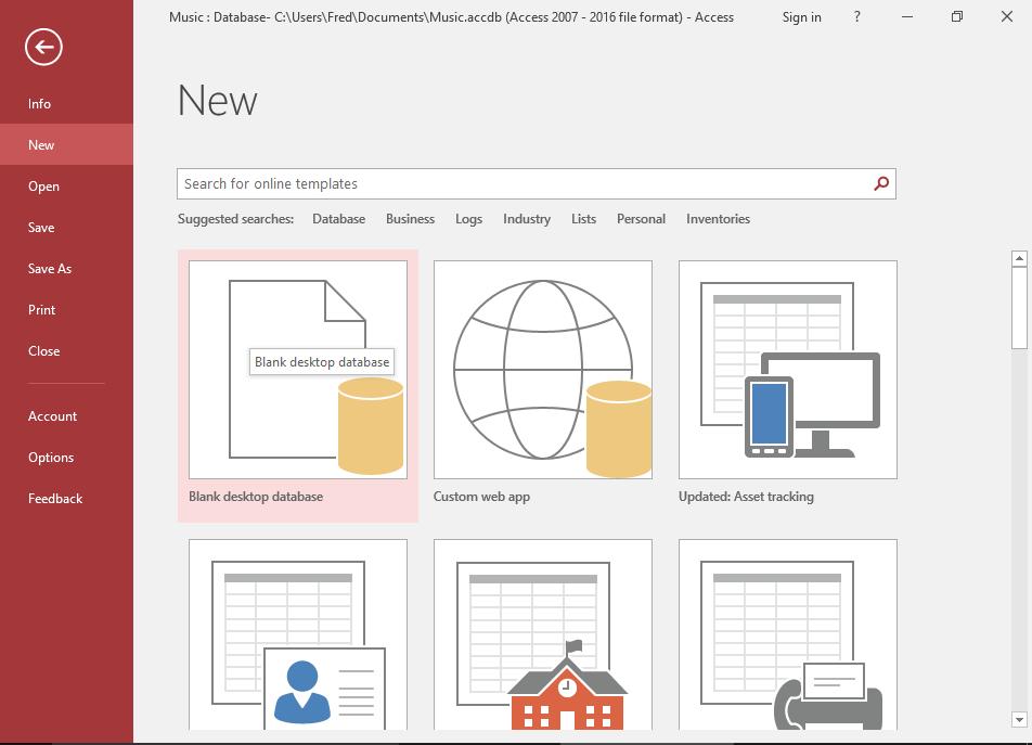 Screenshot of the File > New menu of MS Access 2016