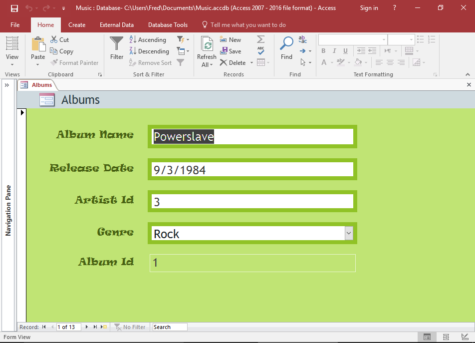Screenshot of the Form in Layout View.