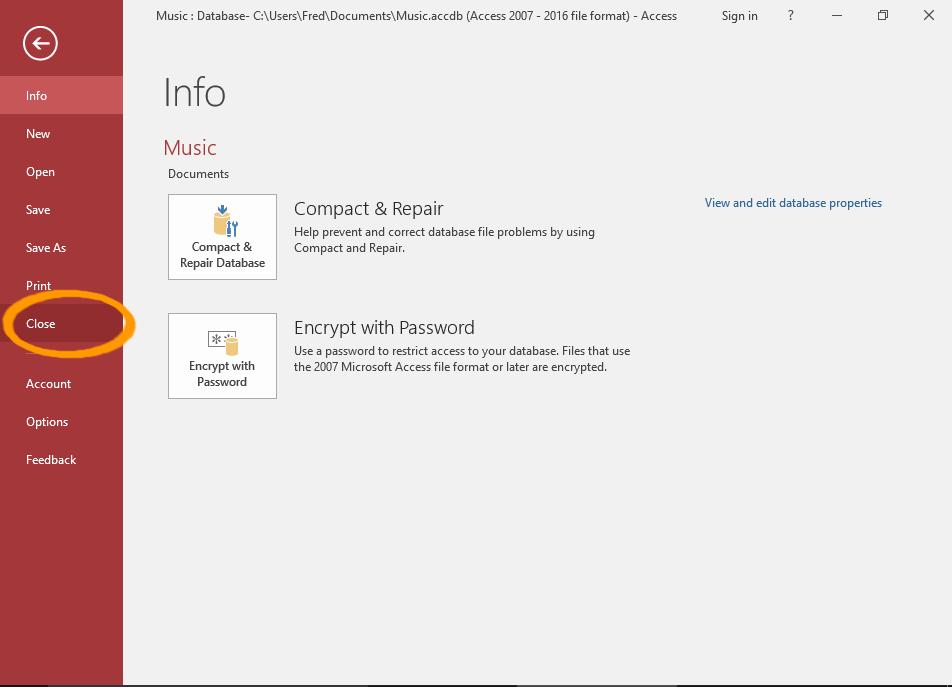 Screenshot of the File menu.