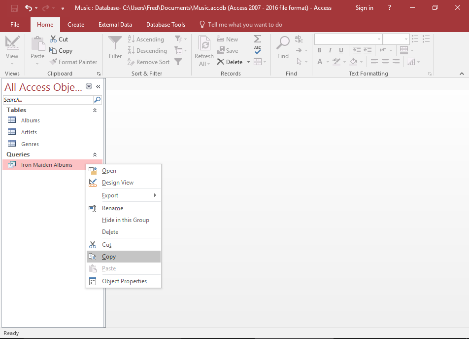Screenshot of copying the existing query