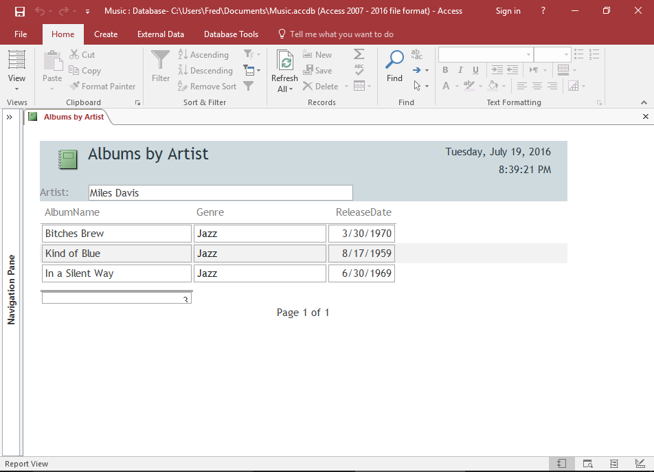 Screenshot of the report in Report View.