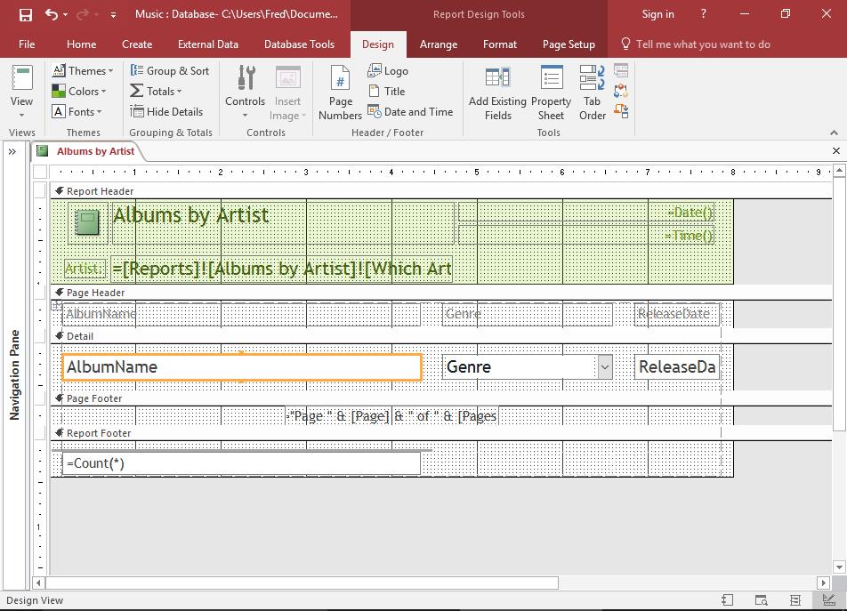 Screenshot of a Report in Design View.