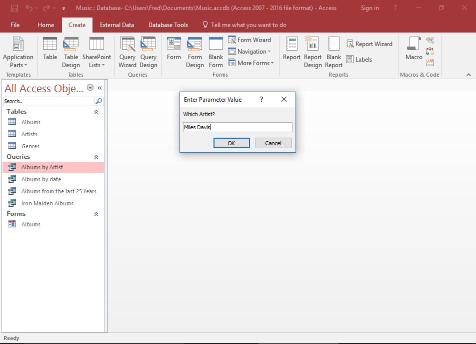 Screenshot of the parameter prompt.