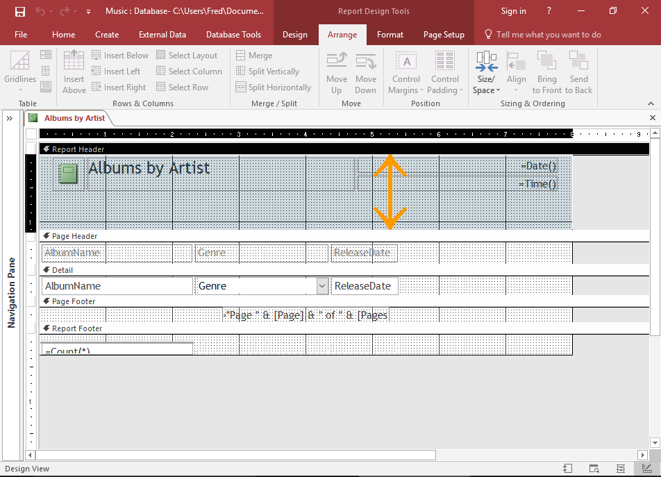 Screenshot of the Report in Design View.
