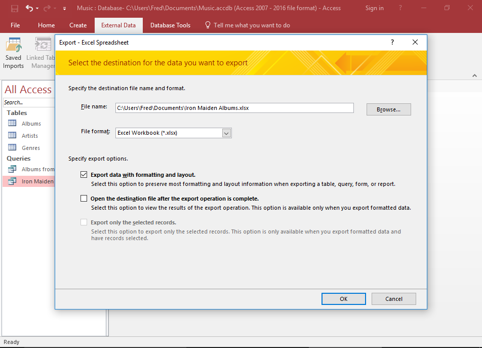 Screenshot of the Export dialog.
