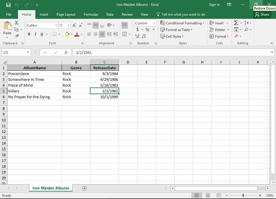 Screenshot of the exported file in Excel.