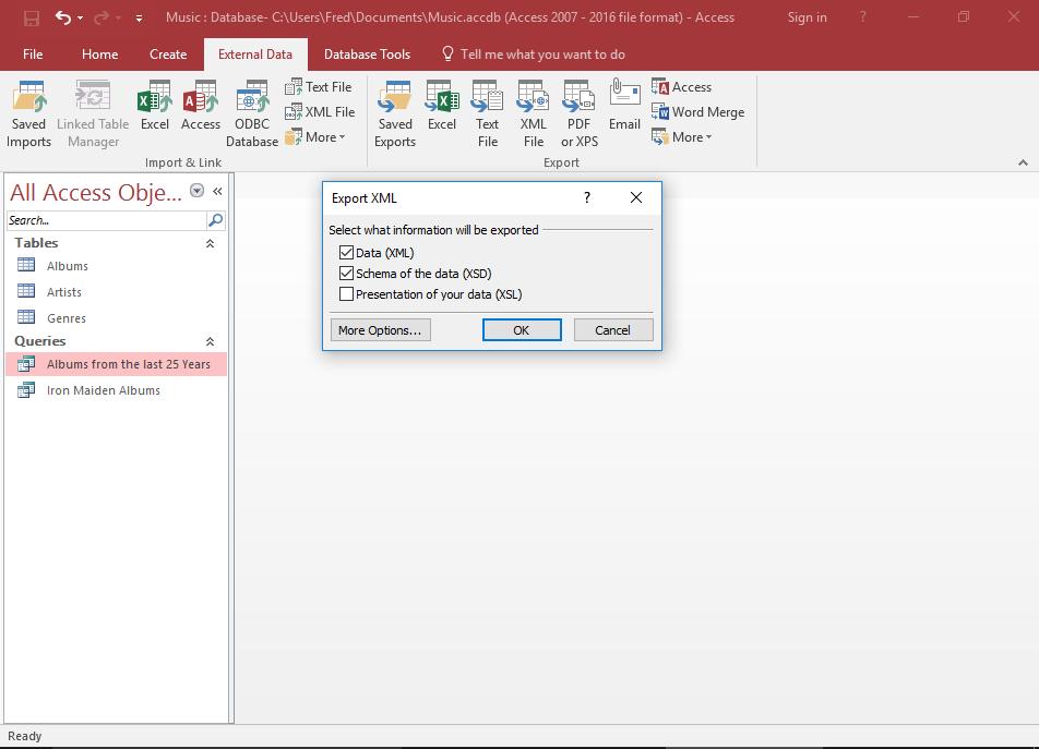 Screenshot of the Export dialog.