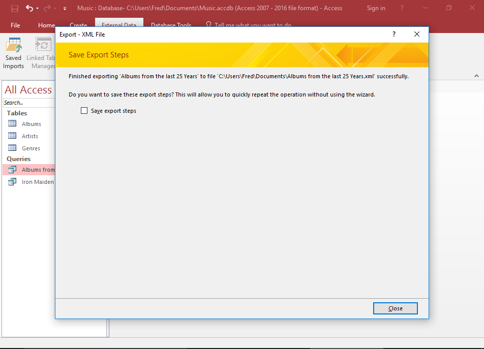 Screenshot of the Save Export Steps dialog.