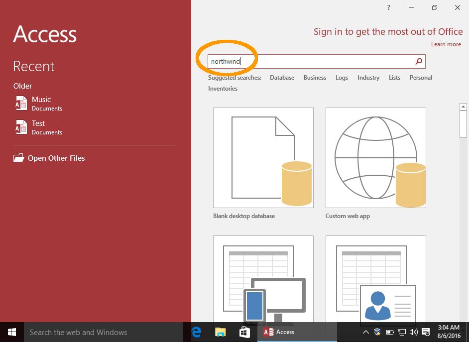Screenshot of the  Access Welcome screen.