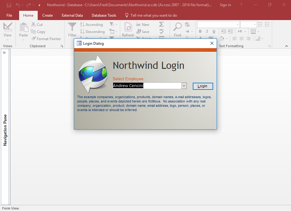Access 2016: Install the Northwind Database