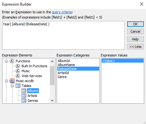 Access 2016 how to use the expression builder for Finding a builder