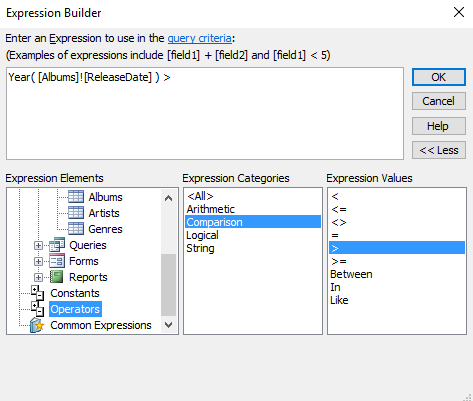 Access 2016 how to use the expression builder Where to find a builder