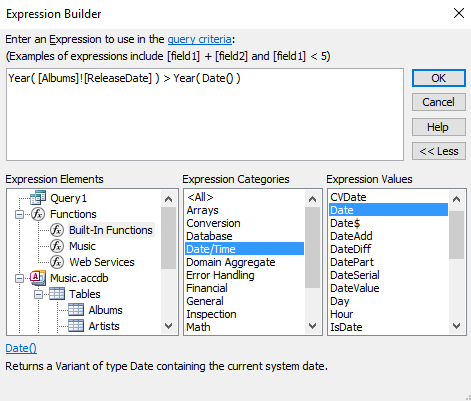 Screenshot of the Expression Builder