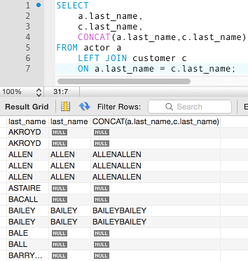 Screenshot of a concatenation with a NULL parameter
