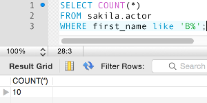 Screenshot of using the COUNT() function with a WHERE clause