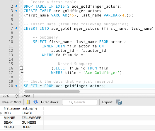 Screenshot of an insert statement using nested subqueries