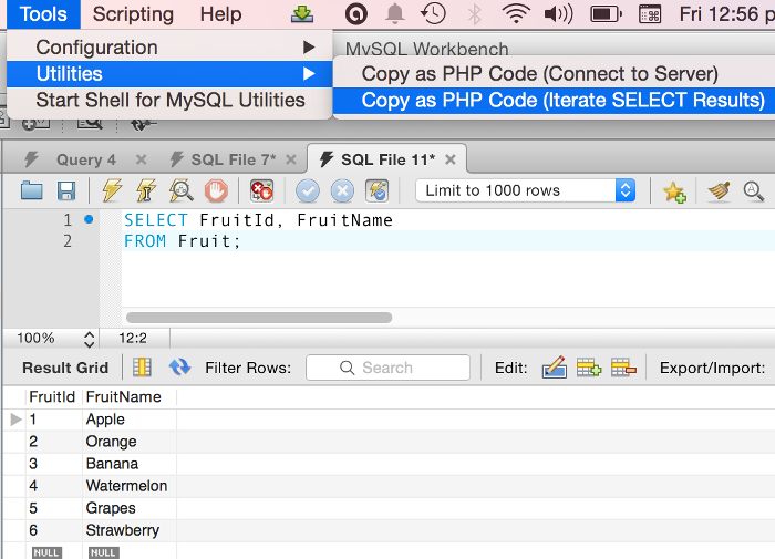 Screenshot for creating a website with MySQL 2