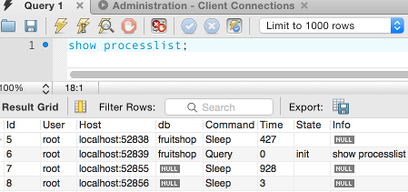 Screenshot of running the processlist command in the query tab