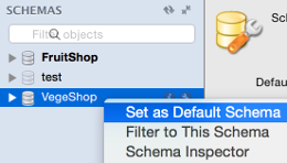 Screenshot of setting the default schema