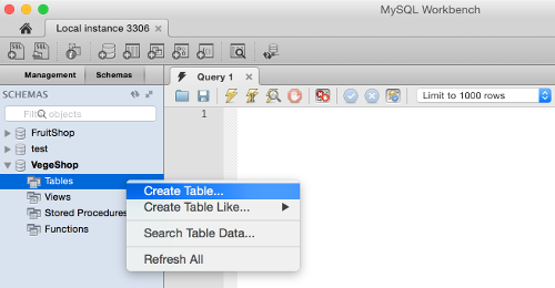 Create A Table Using Mysql Workbench