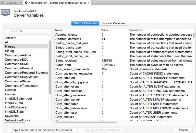 Screenshot of the Status and System Variables tab using the MySQL Workbench GUI