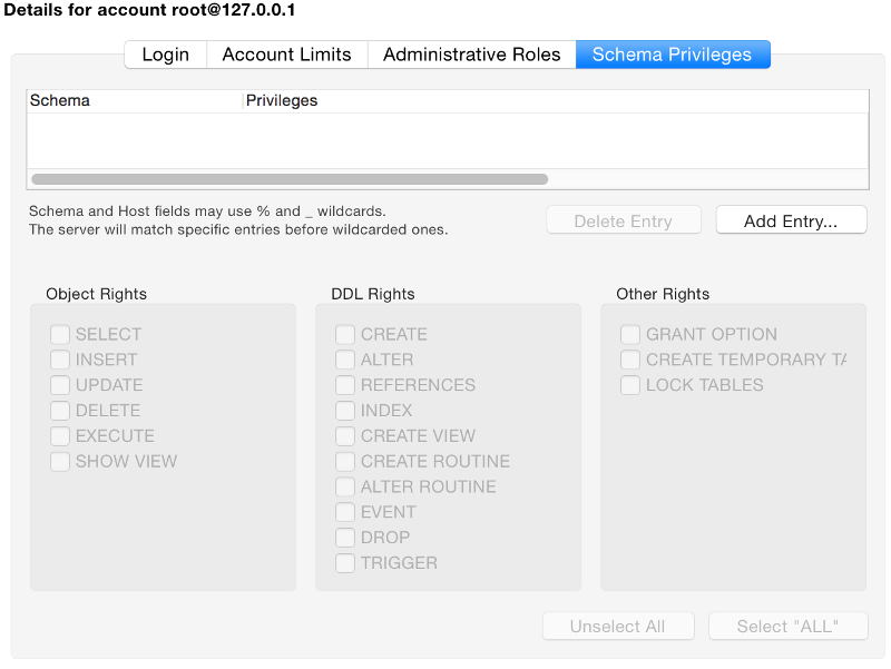 Screenshot of the Schema Privileges tab
