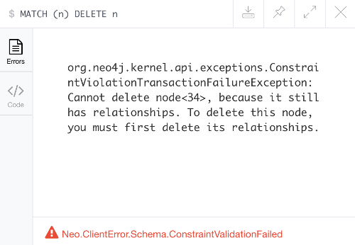Screenshot of error message from trying to delete a node with relationships.