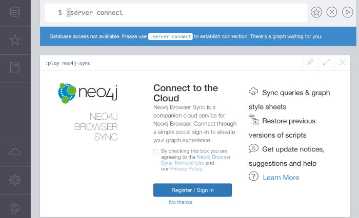 Screenshot of the Neo4j browser cloud page
