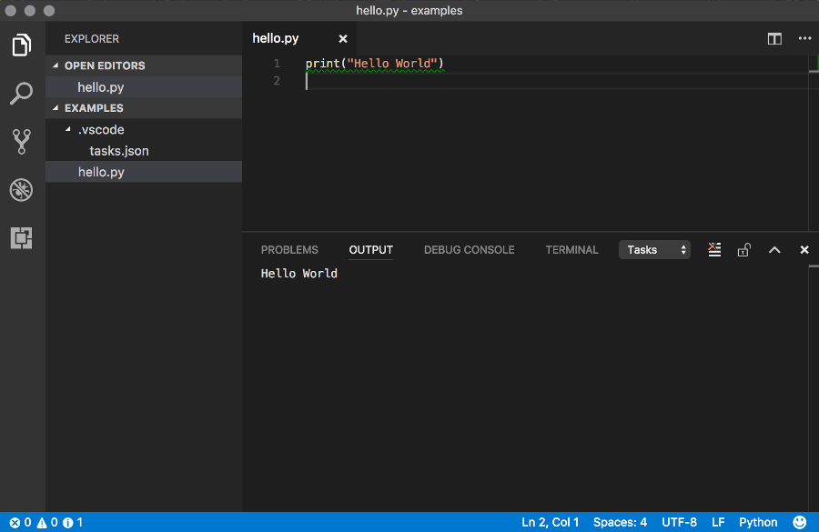 Screenshot of Visual Studio Code running Python